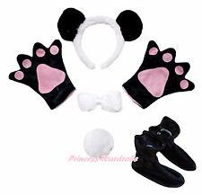 Halloween Panda Bear Headband Bow Tail Paw Shoes 5pc Child School Party Costume