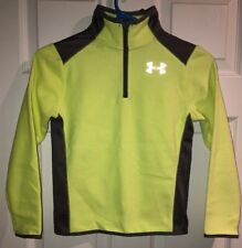 Nwt! Under Armour Grey and Light Neon Yellow Quater Zip Jacket Boys Youth Xs