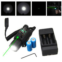 Tactical LED Flashlight+GREEN/RED Laser Sight Combo Fit Picatinny Mount Rails