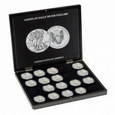 """Coffret noir pour 20 pièces de 1 once argent """"Américain Eagle""""."""
