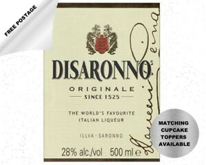 Disaronno bottle label icing cake & cupcake toppers - can be personalised