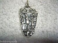 VINTAGE 925 STERLING SILVER MEXICO MAYAN TRIBAL EGYPTIAN HIEROGLYPHICS PENDANT