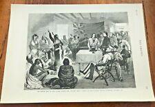 1877 original print - indian war - sitting bull ! council at fort walsh