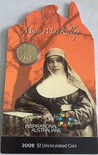 2008 Unc $1 Mary Mackillop Australia's First Saint Coin On Card