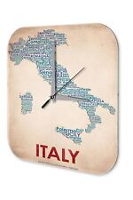 Horloge murale Globetrotter  Carte de l'Italie Imprimee Acrylglas