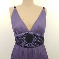 Bang by Messina Dress SZ 12 Purple Silk Cocktail Embellished Waist Cocktail