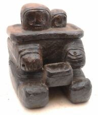 Native Northwest Coast Carved Inuit Wood Eskimo Statue Figure VTG Yupik oil dish