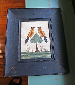 Framed Original Gouache Folk Art Painting by CA Artist Emily Hollinger