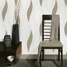 WAVE EMBOSSED TEXTURED WALLPAPER - BEIGE - E62007 DIRECT WALLPAPERS NEW