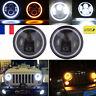 7'' LED Feux Phare Avant H4 Hi-Lo DRL Lampe Kit pour JEEP Wrangler JK TJ Harley