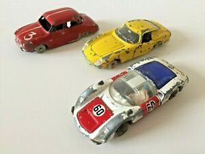 Lot x3 Dinky Toys & Corgi, Ferrari 275GTB, Renault Dauphine & Porsche Carrera 6