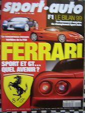 revue sport auto 1999 BILAN FORMULE 1 / HONDA S2000 / DOSSIER FERRARI / DIABLO
