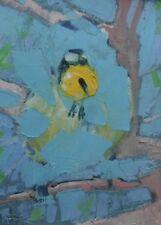"SUPERB NEW ORIGINAL MARTIN STONE ""Blue Tit"" wild bird IRELAND IRISH OIL PAINTING"