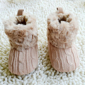 Winter Warm First Walkers Baby Toddler Ankle Boots Shoes Crochet Knit Fleece Kid