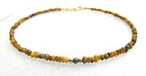 tiger eye black diamond beds 14k yellow gold bracelet gemstone genuine bangle