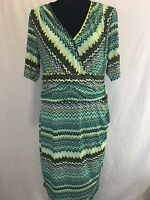 Cato Womens Wrap Empire Waist Short Sleeves Dress Stretch Green Size L