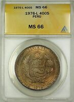 1976-L Peru 400 Soles de Oro Silver Coin ANACS MS-66 Toned GEM BU
