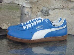 Vintage 1980s PUMA Handball UK10 Made In Yugoslavia OG Blue White 80s Rare