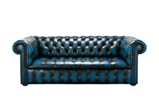 Chesterfield Edwardian 3 Seater Buttoned Seat Antique Blue Leather Sofa
