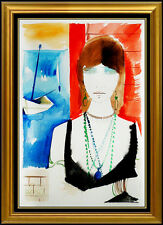 Charles Levier Original Gouache Painting Signed Female Portrait French Artwork