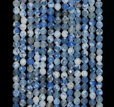 """4MM  AGATE GEMSTONE ICE BLUE FACETED ROUND LOOSE BEADS 15"""""""