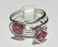 925 Silver 3 Pink Crystal Stacker Rings*Brand New*Size N*RRP 17.99*CLEARANCE