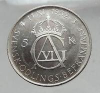 1952 SWEDEN King GUSTAV VI ADOLF 70th Birthday Silver 5Kr SWEDISH Coin i63548