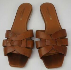 Saint Laurent Amber Brown Leather Tribute Mules Nu Pieds Slide Sandal Size 36