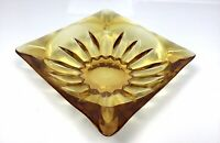 Vintage Large Amber Glass Square Ashtray Sun Flower Bottom 4 Slot Cigarette MCM