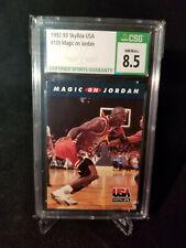 MICHAEL JORDAN SKYBOX 1992-93 #105 MAGIC ON JORDAN CSG 8.5