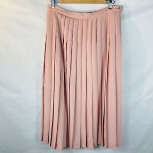 Vintage long pleated pink skirt old size 16 mod 14 Country Casuals wool blend