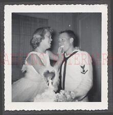 Vintage Photo Pretty Girl Bride Feeding Navy Sailor Man Wedding Cake 668483