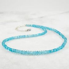 Blue Apatite Necklace Sterling Silver Gemstone Beaded