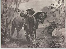 Großes CDV-Bild - Motiv: Zeichnung Reiter mit Pferd