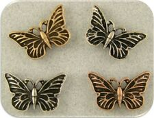 2 Hole Beads Butterfly Butterflies ~ 3T Silver Copper Gold Metal ~ Sliders QTY 4