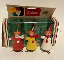 New listing DOUBL GLO Three Clowns Ice Skating Flocked Christmas Ornaments in Original Box