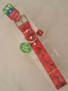 """top paw Dog Collar COLORFUL RED POINSETTA L 20-24"""" Neck Christmas BELL EZ CLEAN"""