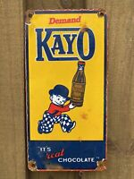 VINTAGE KAYO CHOCOLATE DRINK PORCELAIN SIGN USA OIL GAS PUMP PETROLIANA SODA POP