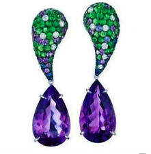 8Ct Pear Cut Amethyst Emerald Simulnt Diamond Dangle Earrings Silver Gold Finish