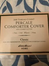 Eddie Bauer Percale Comforter Cover Queen Size-Blue/White-BRAND NEW NEVER OPENED