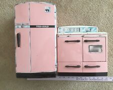 Vintage Metal Pink Play Stove & Refrigerator Kitchen Toys