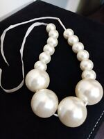Vintage Silver Tone Chunky Faux Pearl Necklace on a ribbon string