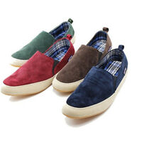 British Style Men's Casual Canvas Sneakers Slip On Loafer Moccasin Zapato