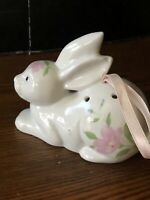 Pomander Porcelain Rabbit With Pink Flowers Perfect For Spring / Easter