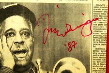 DIZZY GILLESPIE VERY RARE AUTOGRAPHED NEWSPAPER 1987 ORIGINAL JAZZ BEBOP TRUMPET