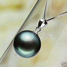 Natural 14mm Genuine Black Tahitian South Sea Shell Pearl Pendant Necklace