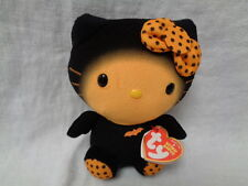 "TY Hello Kitty halloween black orange stuffed animal beanie baby 6"" plush"