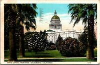 Vtg 1920's State Capitol Building from Park, Sacramento California CA Postcard