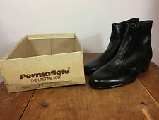NOS Vintage Permasole Leather Beatle Boots Motorcycle Half Cab Mod Atomic Hippy