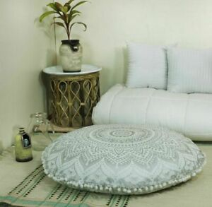 Ottoman Indian Mandala Pouf Cover Cotton Floor Cushion Cover Large Round Case